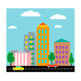 City with houses and cars. Flat design. Vector Stock Photo