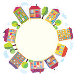 City houses in circle Stock Images