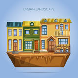 City houses facades. Flat design urban landscape Stock Photos
