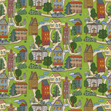 City houses pattern Royalty Free Stock Images