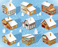 City houses in perspective (Winter) Royalty Free Stock Photo