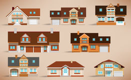 City houses (retro colors) Stock Photos