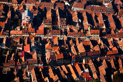 City houses from above. City houses seen from above, creating an abstract pattern or texture Royalty Free Stock Image