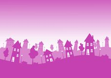 City Houses Skyline Pink. A city or town skyline with silhouette pink houses with lights inside the windows and doors Stock Photo