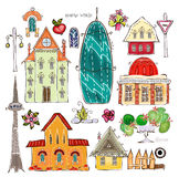City houses and street desing element set Happy world collection Stock Image