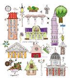 City houses and street desing element set Happy world collection Royalty Free Stock Photography