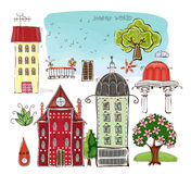 City houses and street desing element set Happy world collection Royalty Free Stock Image