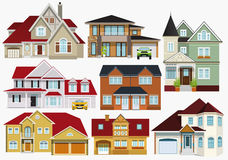 City houses. Vector illustration of 8 classic city houses collection Stock Illustration