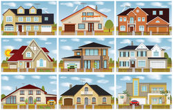 City houses. Vector illustration of family houses collection vector illustration