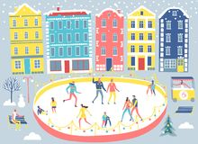 City and ice rink illustration. People resting and skating in the winter city. Including european architecture and big ice rink. Cartoon seasonal illustration Royalty Free Stock Photography