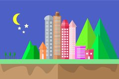 City Icon night time and moon in the sky Landscape geometric shape design concept flat scene design Cityscape Vector Illustration.  Stock Photography