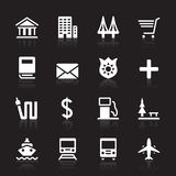 City Icon Set. 16 city sign icons Royalty Free Stock Image