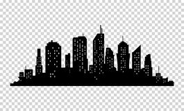 City icon. Vector town Silhouette illustration. Skylines. Skyscraper. On transparent background Stock Photo