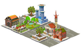 City icons, buildings, park detailes Royalty Free Stock Photography