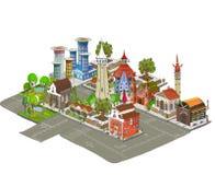 City icons, buildings, park detailes Part of colle. City icons, part of collection for creating your city stock illustration