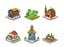 City icons, buildings, park detailes Part of colle Stock Image