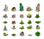 City icons, buildings, park detailes Part of colle Royalty Free Stock Image