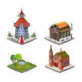 City icons, buildings, park detailes Part of colle Stock Photos