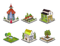 City icons, buildings, park detailes Part of colle Royalty Free Stock Photography