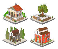 City icons, buildings, park detailes. City icons, part of collection for creating your city vector illustration