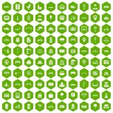 100 city icons hexagon green. 100 city icons set in green hexagon isolated vector illustration Royalty Free Stock Images