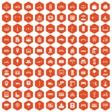 100 city icons hexagon orange Royalty Free Stock Images