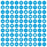 100 city icons set blue. 100 city icons set in blue hexagon isolated vector illustration Royalty Free Stock Photos