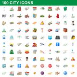 100 city icons set, cartoon style. 100 city icons set in cartoon style for any design illustration vector illustration