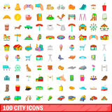 100 city icons set, cartoon style Royalty Free Stock Image