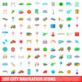 100 city icons set, cartoon style. 100 city icons set in cartoon style for any design vector illustration Stock Photography