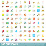 100 city icons set, cartoon style Royalty Free Stock Images