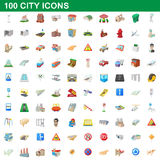 100 city icons set, cartoon style. 100 city icons set in cartoon style for any design vector illustration Stock Photo