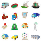 City icons set, cartoon style Royalty Free Stock Photography