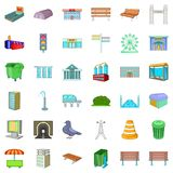 City icons set, cartoon style. City icons set. Cartoon style of 36 city vector icons for web isolated on white background Stock Photo