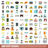 100 city icons set, flat style. 100 city icons set in flat style for any design vector illustration Royalty Free Stock Images