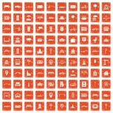 100 city icons set grunge orange. 100 city icons set in grunge style orange color isolated on white background vector illustration royalty free illustration