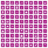 100 city icons set grunge pink. 100 city icons set in grunge style pink color isolated on white background vector illustration vector illustration