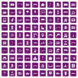 100 city icons set grunge purple. 100 city icons set in grunge style purple color isolated on white background vector illustration Royalty Free Stock Image