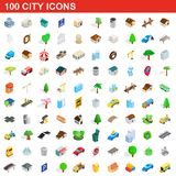 100 city icons set, isometric 3d style. 100 city icons set in isometric 3d style for any design illustration vector illustration