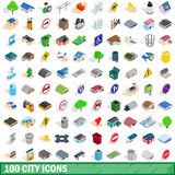 100 city icons set, isometric 3d style Stock Image