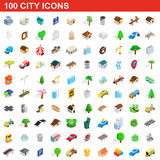 100 city icons set, isometric 3d style Royalty Free Stock Photos