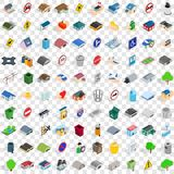 100 city icons set, isometric 3d style Royalty Free Stock Photo