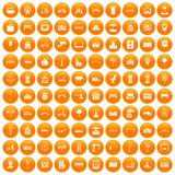 100 city icons set orange. 100 city icons set in orange circle isolated on white vector illustration Stock Image