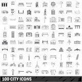 100 city icons set, outline style Royalty Free Stock Image
