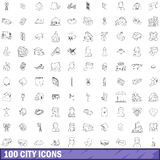 100 city icons set, outline style Stock Image