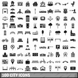 100 city icons set in simple style Stock Images