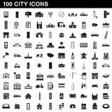 100 city icons set, simple style Stock Photography