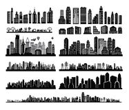 City icons. Vector black city icons set on white Royalty Free Stock Images