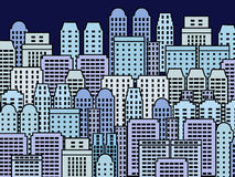 City illustration. Blue skyscrapers and modern buildings. Contemporary metropolis and urban landscape Royalty Free Stock Image