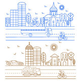 City illustration birds, buildings, cathedrals. City illustration in linear style birds, buildings, cathedrals, clouds, cyclist, machines graphic design template Stock Images
